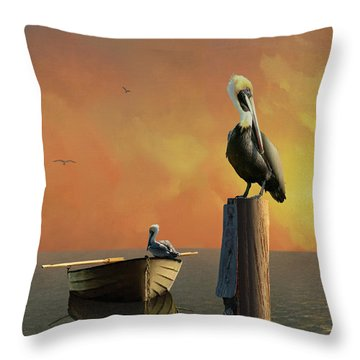 Sunset At Pelican Cove Throw Pillow