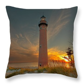 Sunset At Petite Pointe Au Sable Throw Pillow