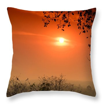 Sunset At Phnom Bakheng Of Angkor Wat Throw Pillow