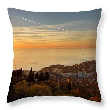 Sunset At Piran Throw Pillow