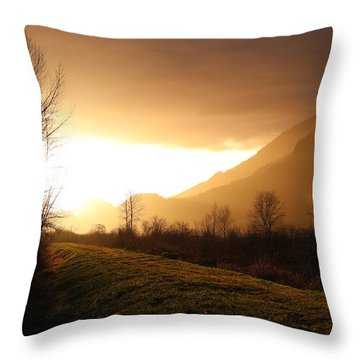 Sunset At Pitt Lake Dyke Throw Pillow