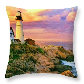 Sunset At Portland Head Throw Pillow by Dominic Piperata