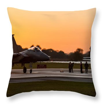 Sunset At Raf Lakenheath Throw Pillow