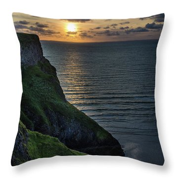 Sunset At Rhossili Bay Throw Pillow