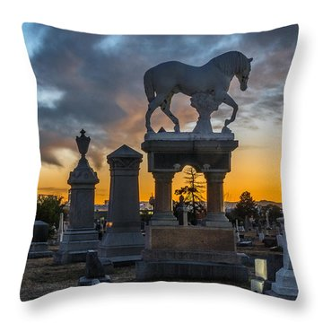 Sunset At Riverside Cemetery Throw Pillow