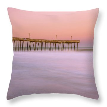 Throw Pillow featuring the photograph Sunset At Rodanthe Fishing Pier In Obx Panorama by Ranjay Mitra