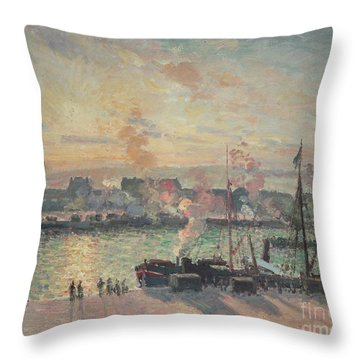 Sunset At Rouen Throw Pillow by Camille Pissarro
