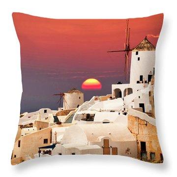 sunset at Santorini Throw Pillow