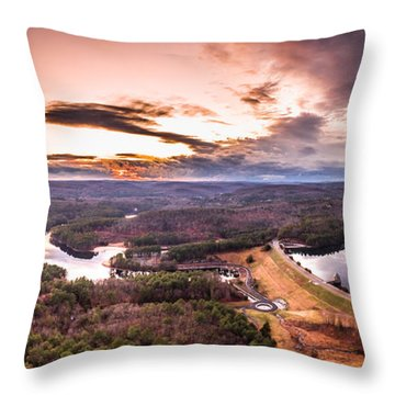 Throw Pillow featuring the photograph Sunset At Saville Dam - Barkhamsted Reservoir Connecticut by Petr Hejl