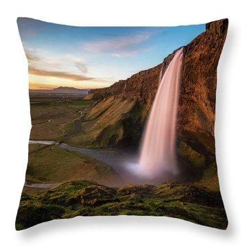 Sunset At Seljalandsfoss Throw Pillow