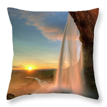 Sunset At Seljalandsfoss Throw Pillow by Peter OReilly