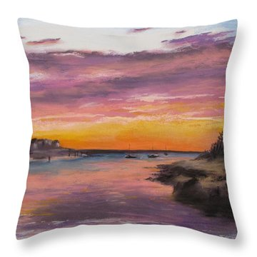 Sunset At Sesuit Harbor Throw Pillow