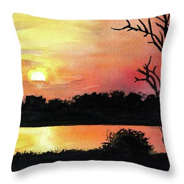 Throw Pillow featuring the painting Sunset At Shire River In Malawi by Dora Hathazi Mendes