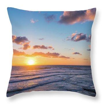 Sunset At Swami's Beach  Throw Pillow