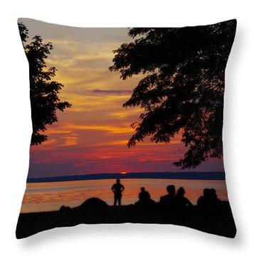 Sunset At Sylvan Beach Throw Pillow by Lori Kingston