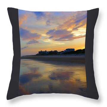 Sunset At The Beach Throw Pillow by Betty Buller Whitehead