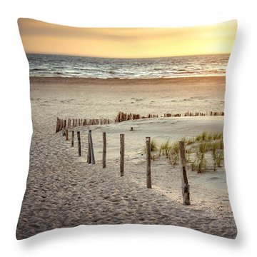 Throw Pillow featuring the photograph Sunset At The Beach by Hannes Cmarits