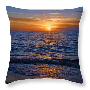 Sunset At The Beach In Naples, Fl Throw Pillow