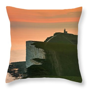 Sunset At The Belle Tout Lighthouse Throw Pillow