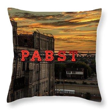 Sunset At The Brewery Throw Pillow by Randy Scherkenbach
