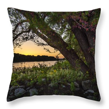 Sunset At The Confluence Throw Pillow by Garry McMichael
