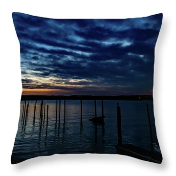 Sunset At The Dock Throw Pillow