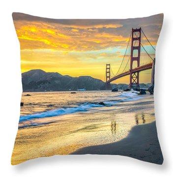 Sunset At The Golden Gate Bridge Throw Pillow
