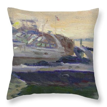 Sunset At The Harbor Throw Pillow