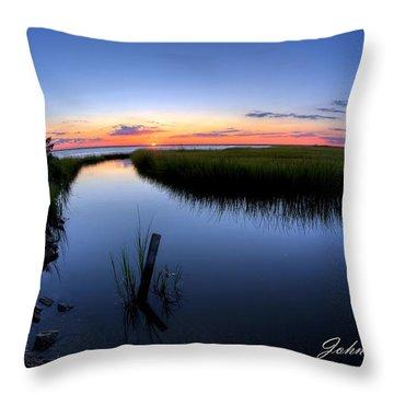 Sunset At The Landing Throw Pillow by John Loreaux