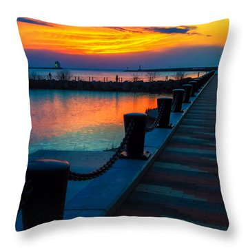 Sunset At The Lorain Lighthouse In Ohio Throw Pillow