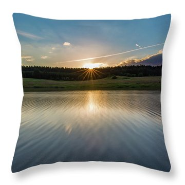 Sunset At The Mandelholz Dam, Harz Throw Pillow