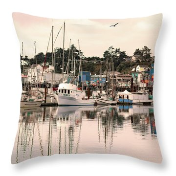 Sunset At The Marina Throw Pillow by Diane Schuster