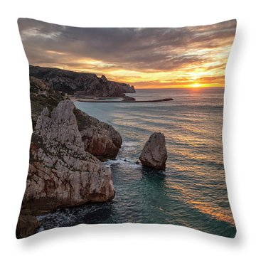 Sunset At The Nest Of The Eagle Throw Pillow