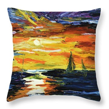 Throw Pillow featuring the painting Sunset At The Oasis Lake Travis by The GYPSY And DEBBIE