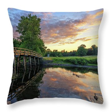 Sunset At The Old North Bridge Throw Pillow