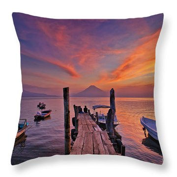 Sunset At The Panajachel Pier On Lake Atitlan, Guatemala Throw Pillow