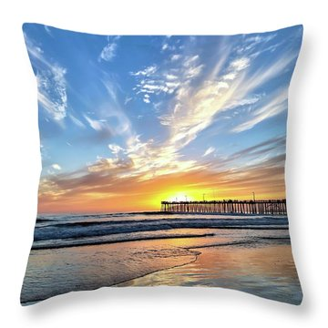 Sunset At The Pismo Beach Pier Throw Pillow by Vivian Krug Cotton