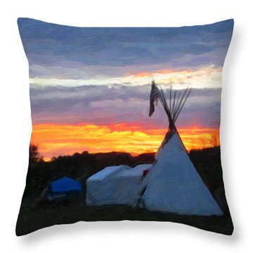 Sunset At The Powwow Throw Pillow