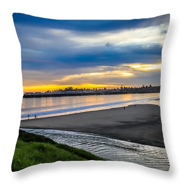 Sunset At The Rivermouth Throw Pillow