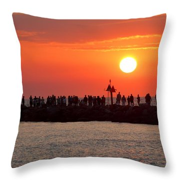 Sunset At The South Jetty, Venice, Florida, Usa Throw Pillow