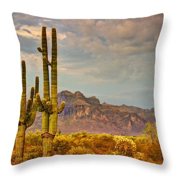Sunset At The Superstitions  Throw Pillow