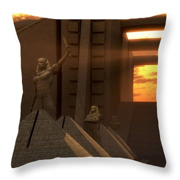 Sunset At The Temple Throw Pillow