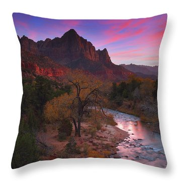 Sunset At The Watchman During Autumn At Zion National Park Throw Pillow