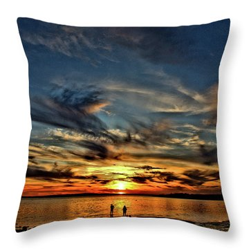 Sunset At The Waters Edge Throw Pillow
