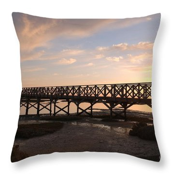 Sunset At The Wooden Bridge Throw Pillow