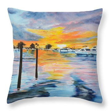 Sunset At The Yacht Club Throw Pillow