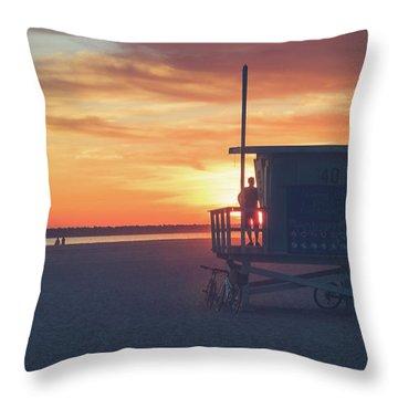 Sunset At Toes Beach Throw Pillow