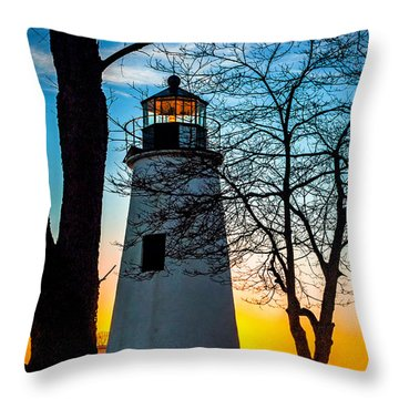 Throw Pillow featuring the photograph Sunset At Turkey Point Lighthouse by Nick Zelinsky
