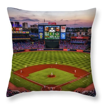 Sunset At Turner Field - Home Of The Atlanta Braves Throw Pillow