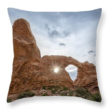 Sunset At Turret Arch Throw Pillow
